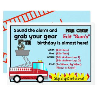 Carte 5ème sapeur-pompier d'invitations de fête
