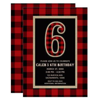 Carte 6ème fête d'anniversaire de plaid rouge rustique