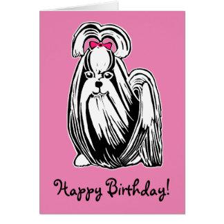 Carte à cheveux longs de joyeux anniversaire de