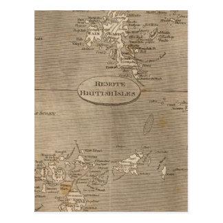 Carte à distance d'îles britanniques par cartes postales