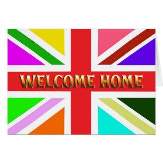Carte à la maison bienvenue avec un arc-en-ciel