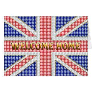 Carte à la maison bienvenue avec Union Jack orné