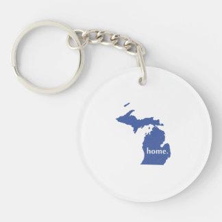 Carte à la maison d'état de silhouette du Michigan Porte-clé Rond En Acrylique Une Face