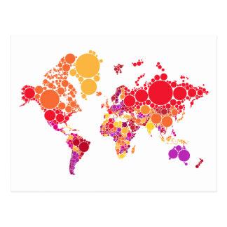 carte abstraite du monde avec les points colorés