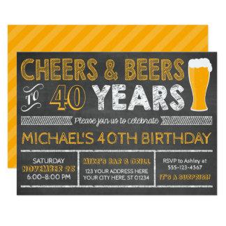 Carte Acclamations et bières à 40 ans d'invitation