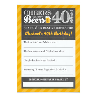 Carte Acclamations et bières à 40 ans • Partagez une