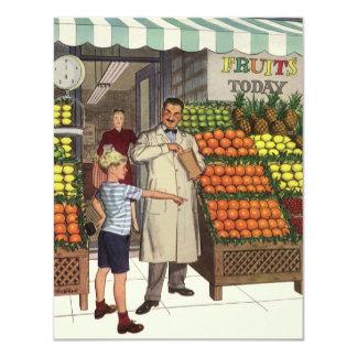 Carte Affaires vintages, support de fruit avec l'épicier
