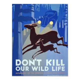 Carte Affiche vintage de conservation de faune de WPA |