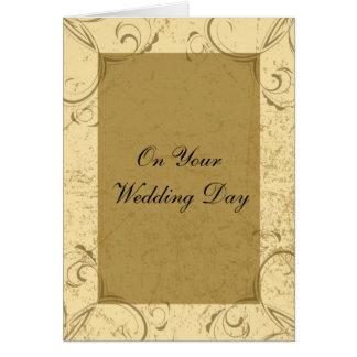 Carte affligée et élégante de jour du mariage