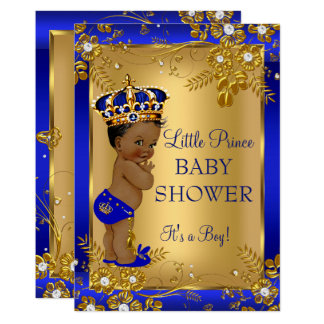 Carte Afro-américain de bleu d'or de baby shower de