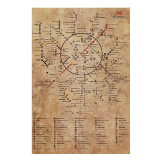 Carte âgée de la métro 2033 poster