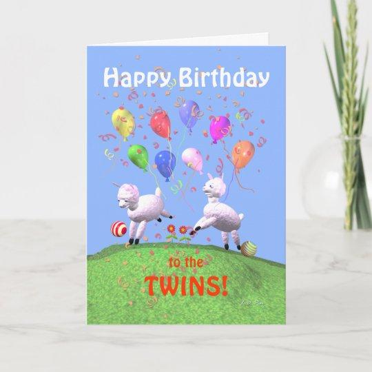 Carte Agneaux De Joyeux Anniversaire Pour Des Jumeaux Zazzle Fr