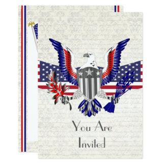 Carte Aigle, drapeau et bouclier américains patriotiques