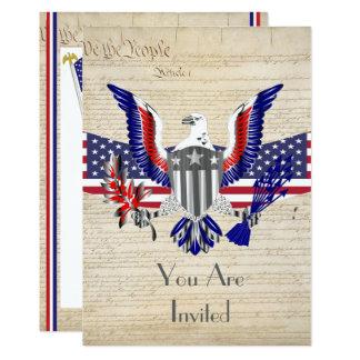 Carte Aigle, drapeau et constitution américains