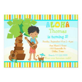 Carte Aloha fête d'anniversaire mignonne de garçon
