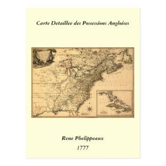 Carte américaine de colonies du cru 1777 par