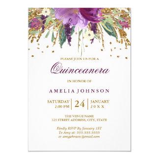 Carte Améthyste florale Quinceanera de scintillement de