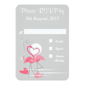 Carte Amour de flamant épousant RSVP