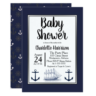 Carte Ancres nautiques modernes et baby shower vintage