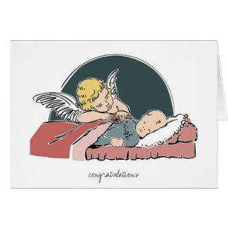 Carte-Ange de salutation du baptême du bébé Carte De Vœux