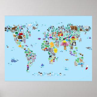 Carte animale du monde poster