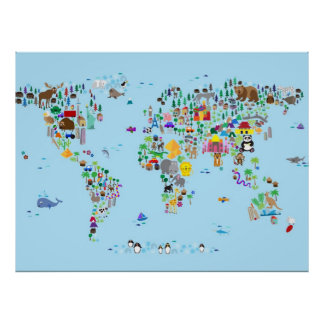 Carte animale du monde posters