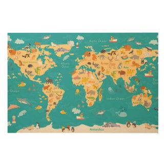 Carte animale du monde pour des enfants impression sur bois