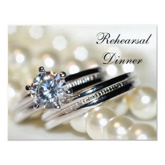 Carte Anneaux et perles blanches épousant le dîner de