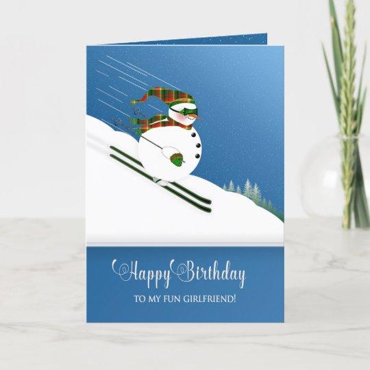 Carte Anniversaire Skieur.Carte Anniversaire Amie Ski Heureux De Bonhomme De