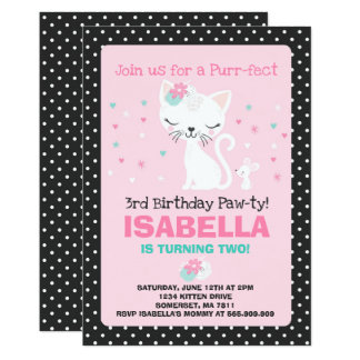 Carte Anniversaire de chat de Kitty d'invitation