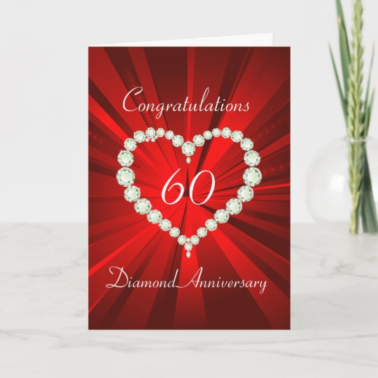 Carte Anniversaire De Diamant Soixantieme De Coeur Zazzle Fr