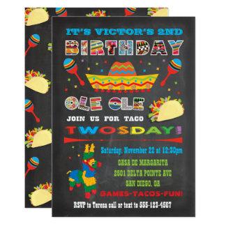 Carte Anniversaire de fiesta mexicaine de Twosday mardi