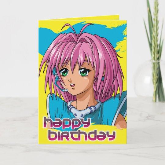 Carte Anniversaire De Fille D Anime Zazzle Fr