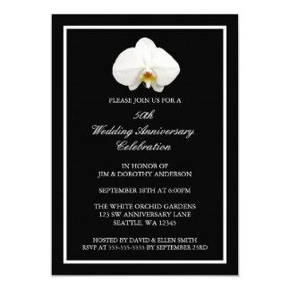 Carte Anniversaire de mariage blanc élégant d'orchidée