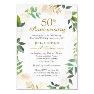 Carte Anniversaire de mariage de guirlande cinquantième