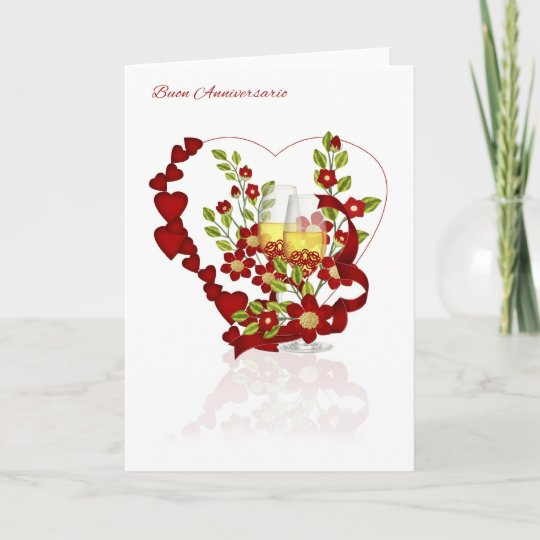 Carte Anniversaire De Mariage Italien Avec Des Fleurs De Zazzle Fr