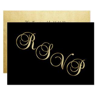 Carte Anniversaire de mariage noir élégant de l'or RSVP
