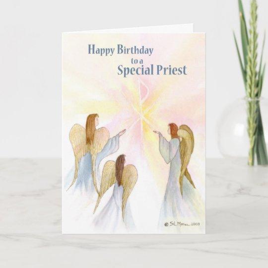 Carte Anniversaire De Pretre Anges Religieux Zazzle Fr