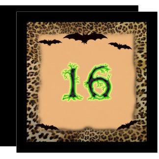 Carte Anniversaire de sweet sixteen, Halloween, battes