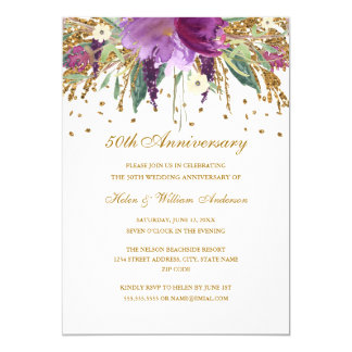 Carte Anniversaire floral d'améthyste pourpre d'or
