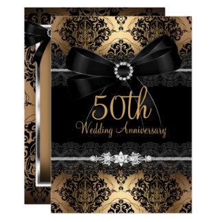Carte Anniversaire noir élégant 2 d'or cinquantième