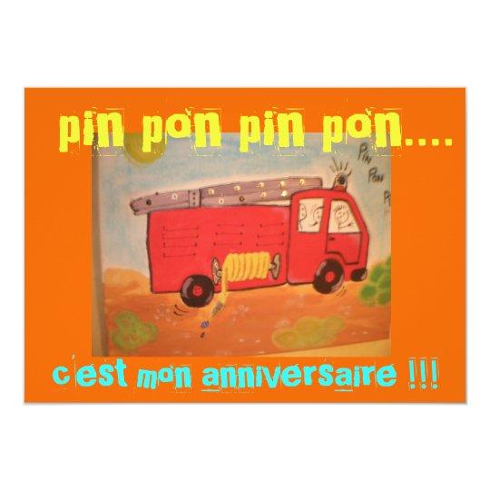Carte anniversaire  pompiers