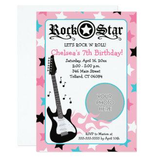 Carte Anniversaire rose 5x7 de *PHOTO* de guitare de