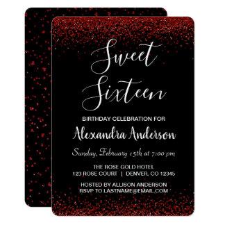 Carte Anniversaire rouge de sweet sixteen de pétale de