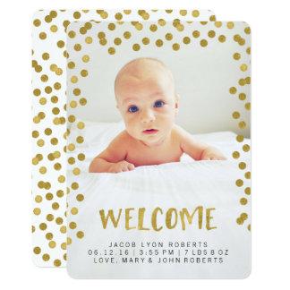 Carte Annonces modernes de naissance de photo d'or de