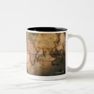 Carte antique 2 du monde mug bicolore