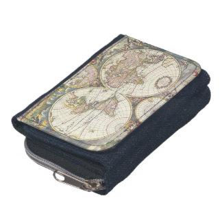 Carte antique antique du portefeuille du monde