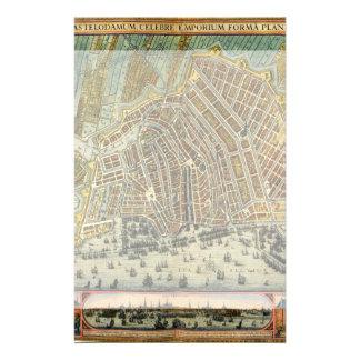 Carte antique d'Amsterdam, Hollande aka Pays-Bas