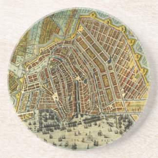 Carte antique d'Amsterdam, Hollande aka Pays-Bas Dessous De Verre