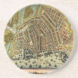 Carte antique d'Amsterdam, Hollande aka Pays-Bas Dessous De Verres